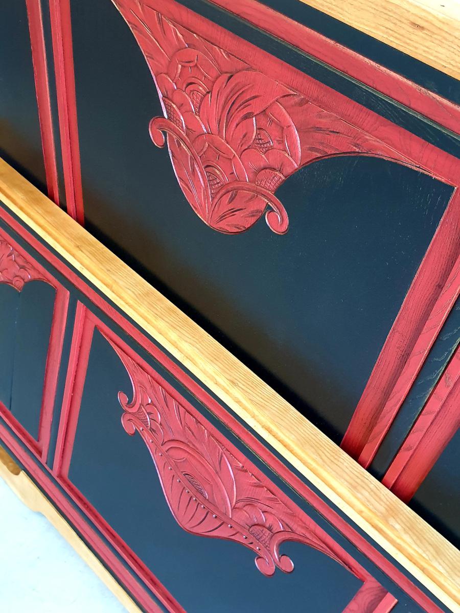 lit Art déco noir et rouge