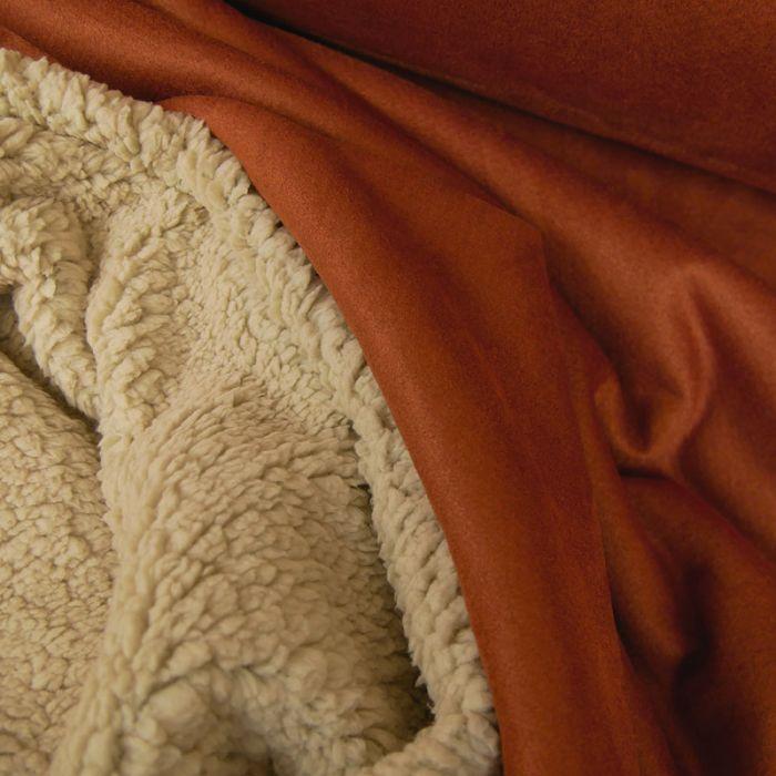 tissu suedine envers fourrure mouton rouille