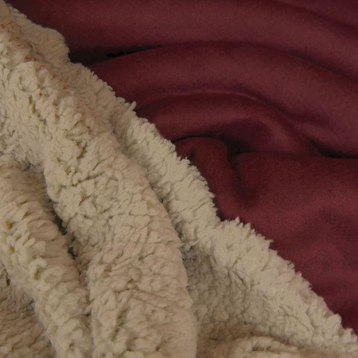 tissu suedine envers fourrure mouton bordeaux