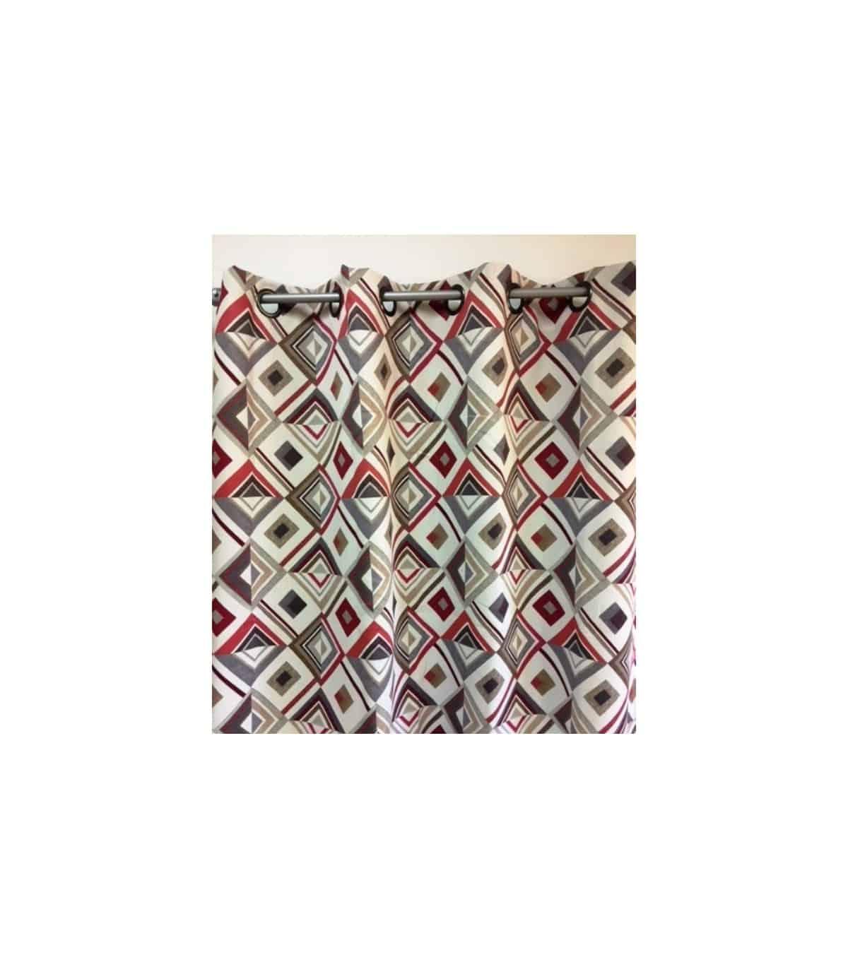 rideau occultant motif losange rouge