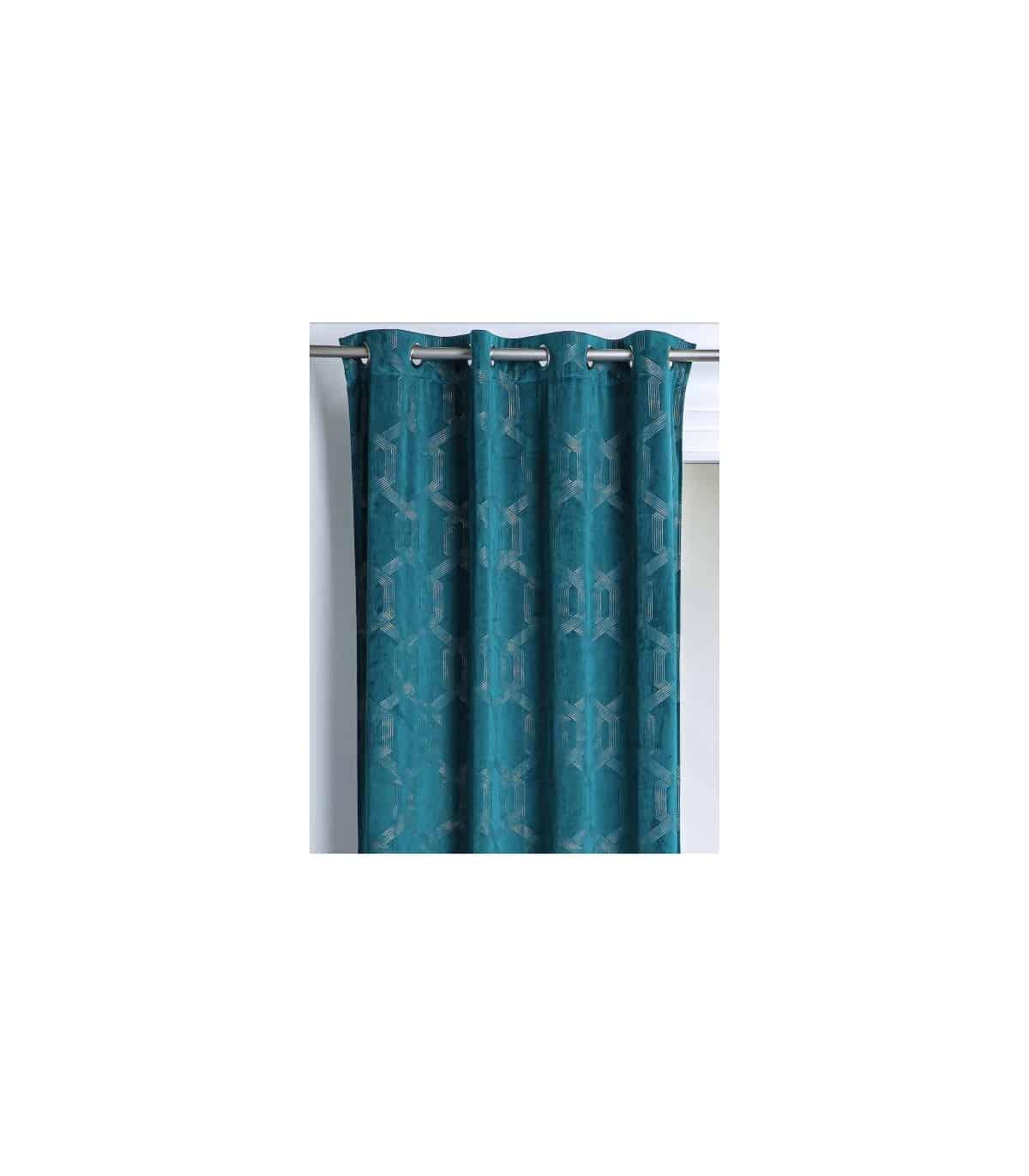 rideau vintage bleu pretrole avec motif