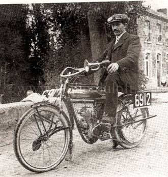 Tricycle 1913 plaque émaillée industrielle