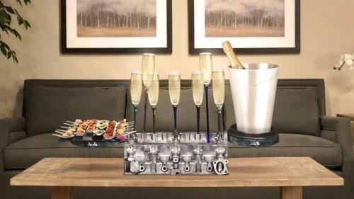Bar à champagne Idée cadeau luxe homme Atelier du Loft Mobilier avec pièces auto