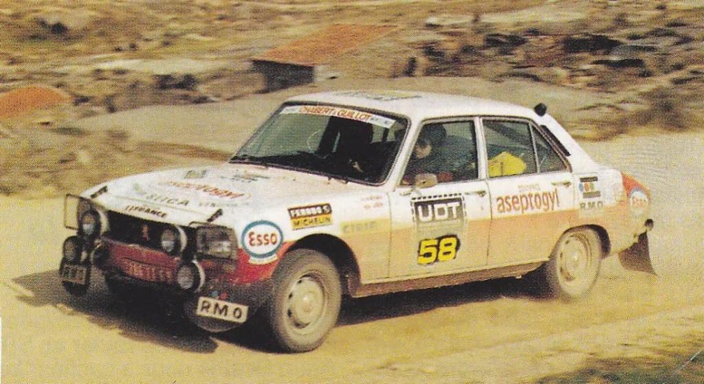 1974 Christine Dacremont termina seconde duLondresSahara-MunichPeugeot 504 n°58,