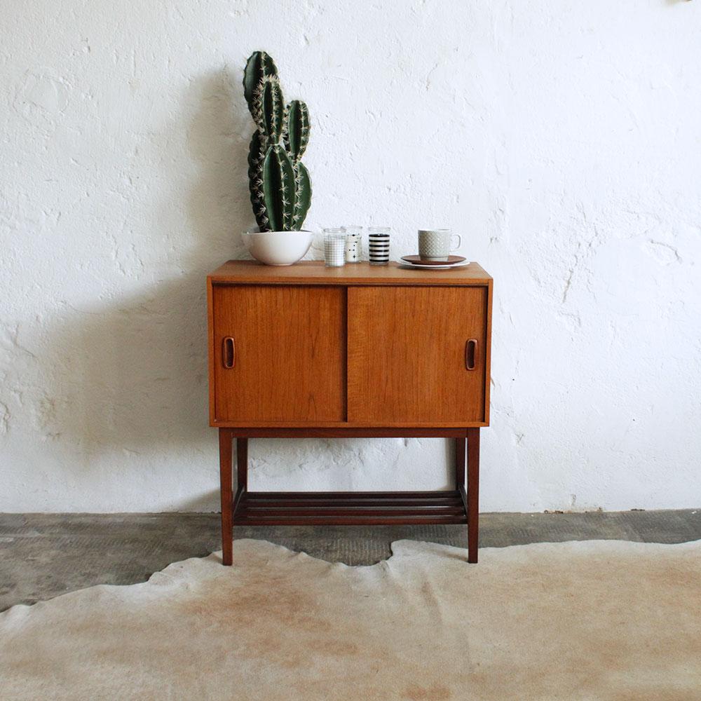 retro vintage teak record cabinet