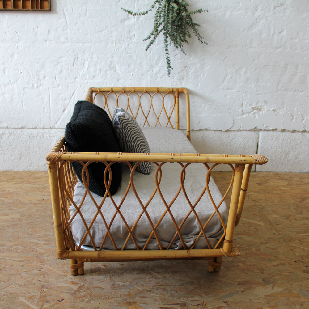 Banquette Lit Rotin Day Bed Vintage Atelier Du Petit Parc