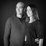 Couple vignerons Mas de Vessière noir et blanc