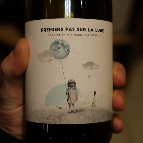 Etiquette recto vin biologique 1er pas sur la lune ATELIER LAVARENNE fleuriste Lyon