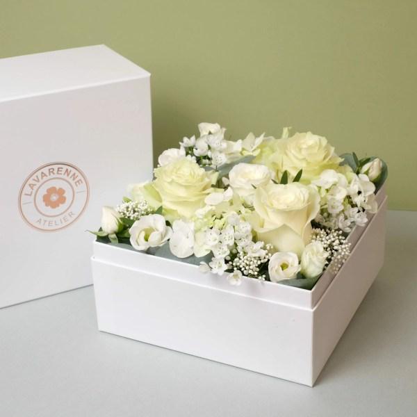 Flower Box fleurs blanches Elégance Atelier Lavarenne Fleuriste Lyon