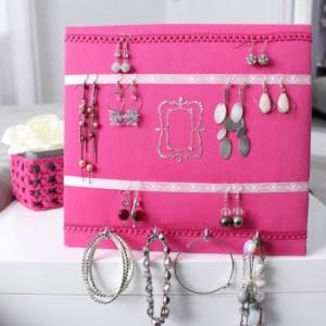 Porte bijoux miroir rose