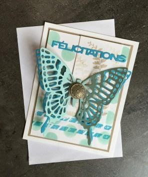 Carte félicitation communion profession de foi Simplement papillon et Thinlits papillon par Marie Meyer Stampin up - http://ateliers-scrapbooking.fr/ - Butterfly Basics Stamp -Butterflies Thinlits - Schmetterlingsgruß Stempel -Thinlits Schmetterlinge