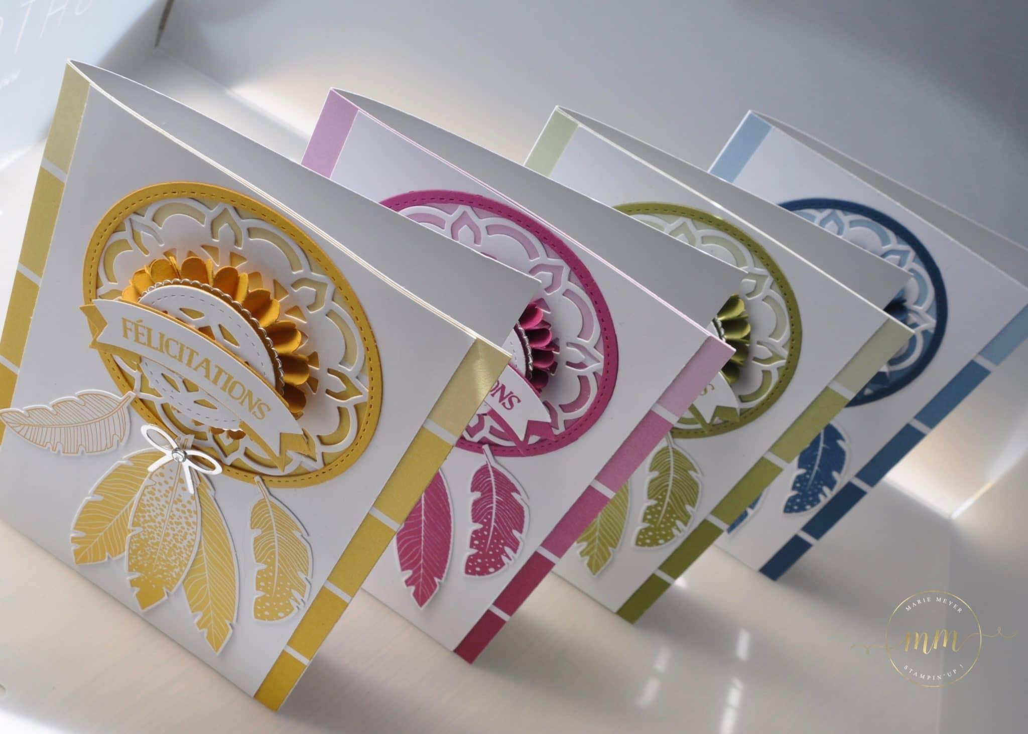 Carte attrape rêves Thinlits Médaillons de l'Orient par Marie Meyer Stampin up - http://ateliers-scrapbooking.fr/ - Dream Catcher Card - Eastern Medallions Thinlits - Color Theory Designer Series Paper Stack - Traumfänger karte Thinlits Orient-Medaillons - Designerpapier im Block Farbenspiel