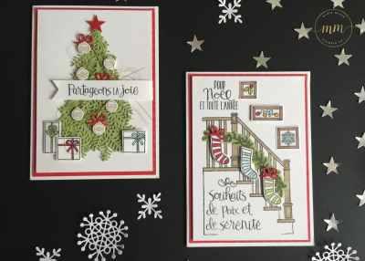 Cartes Prêts pour Noël avec le set de tampons Prêts pour Noël, Thinlits Escaliers de Noël, Papier Design de Noël matelassé, perforatrice étiquette en fanion, et Stampin'blends markers par Marie Meyer Stampin up - http://ateliers-scrapbooking.fr/ - Christmas Card, Ready For Christmas Stamp Set, Christmas Staircase Thinlits Dies, Quilted Christmas Designer Series Paper, Banner Triple Punch – Weihnacht Karten Vorfreude Photopolymer Stempel, Thinlits Formen Weihnachtliche Treppe, Designerpapier Weih