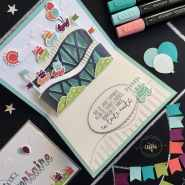 Carte 3D dépliable Vie trépidante Thinlits Grand frisson, cartes pop up, Framelits Formes à coudres, Framelits Pyramides d'ovales, Set de tampon Pour ton anniversaire, Set de tampons Vie trépidante, Stampin'Blends markers, Tutoriels par Marie Meyer Stampin up - http://ateliers-scrapbooking.fr - Let The Good Times Roll Card, Stitched Shapes Framelits, Framelits, Birthday Wishes For You Stamp set - Hochgefühle Karte, Framelits Stick muster, Framelits Lagenweise Ovale, Geburtstagswünsche Für Dich