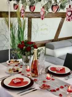 Décoration de table Saint Valentin Gite Alice Spa Jacuzzi Neuve Eglise 2020 2