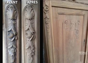 Décirage par aérogommage d'un meuble familial - Ateliers Renard