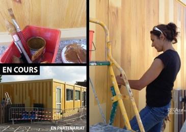 Décors en cours de réalisation - Trompe-l'œil faux bois - Ateliers Renard