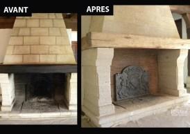 Cheminée : décapage des parties en pierre, en bois et en métal - Ateliers Renard