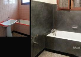 Salle de bain en béton gris reflets métalliques - Ateliers Renard