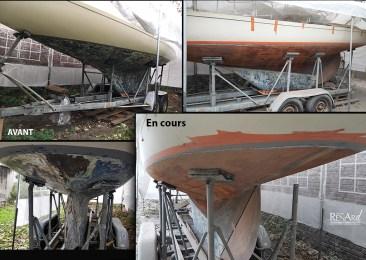 Décapage par aérogommage coque bateau en bois