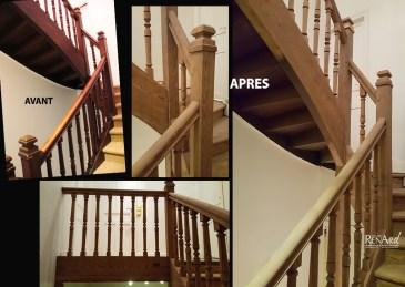 Décapage aérogommage escalier en bois résineux