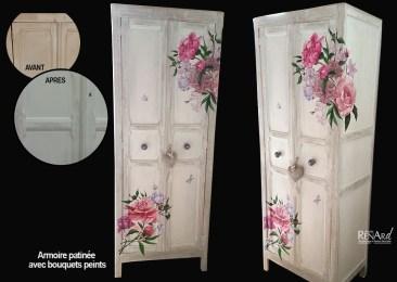 Armoire patinée avec décor peint - Ateliers Renard