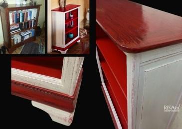 meuble bibliotheque peint patiné - Ateliers Renard