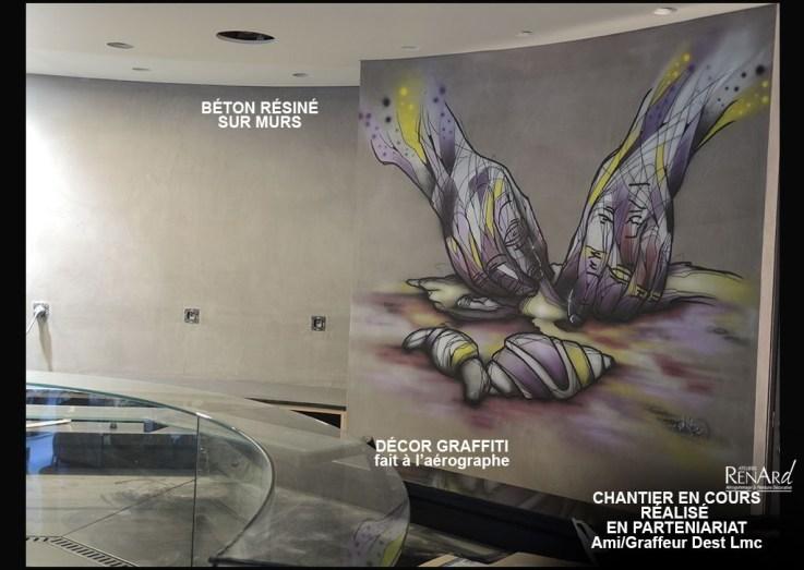béton et graffiti dans une boulangerie - Ateliers Renard
