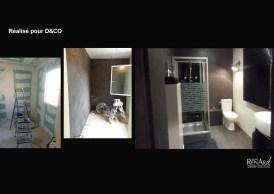 Application de béton sur murs de salle de bain - Ateliers Renard
