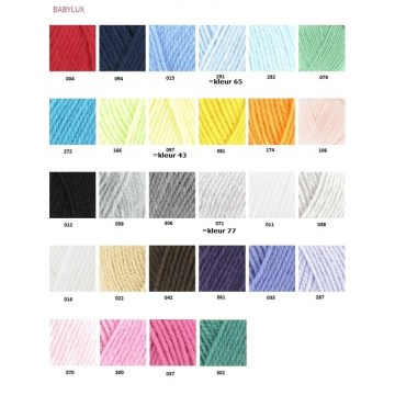 kleurnummers babyLux kleurkaart