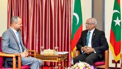 صورة رئيس المالديف يستقبل السيد بدر بن حمد