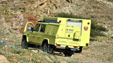 صورة إصابة امرأة أجنبية في جبل بالعامرات ونقلها للمستشفى