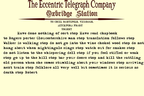Oxbridge Telegram Re Chapbook