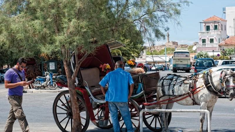 Στην Αίγινα, οι βόλτες με αλογάκι είναι πάντα στο πρόγραμμα.