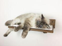 Mensola per gatti noce tessuto bianco