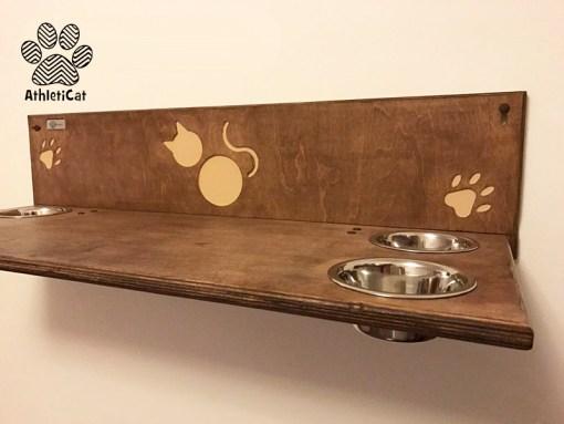 Cat shelf with bowls athleticat