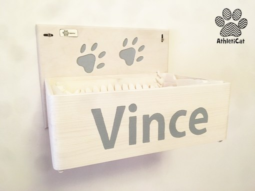 Wooden cat box wall mounted