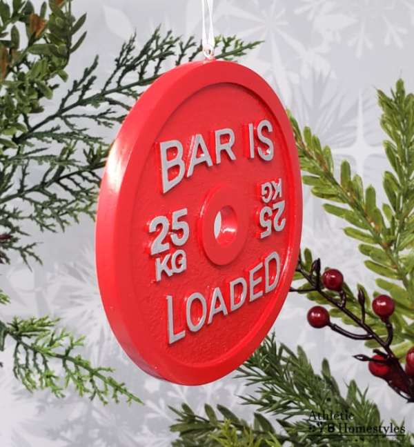 Barbell Bar is Loaded Christmas Ornament 25kg Competitive Powerlifting Weightlifting Car Mirror Charm Decoration
