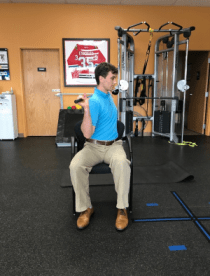 golf off season training seated trunk rotation with club