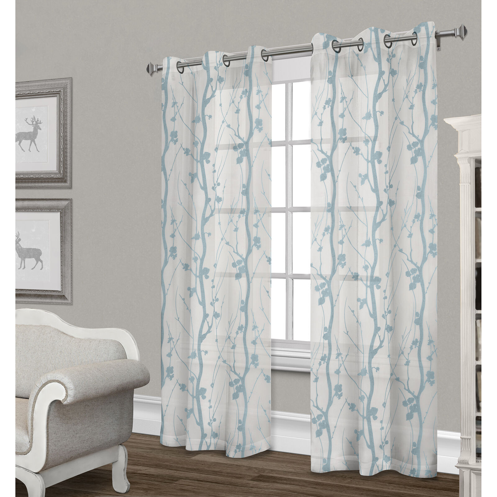 Corfu Sheer Curtain Panel White Amp Teal 84 In At Home