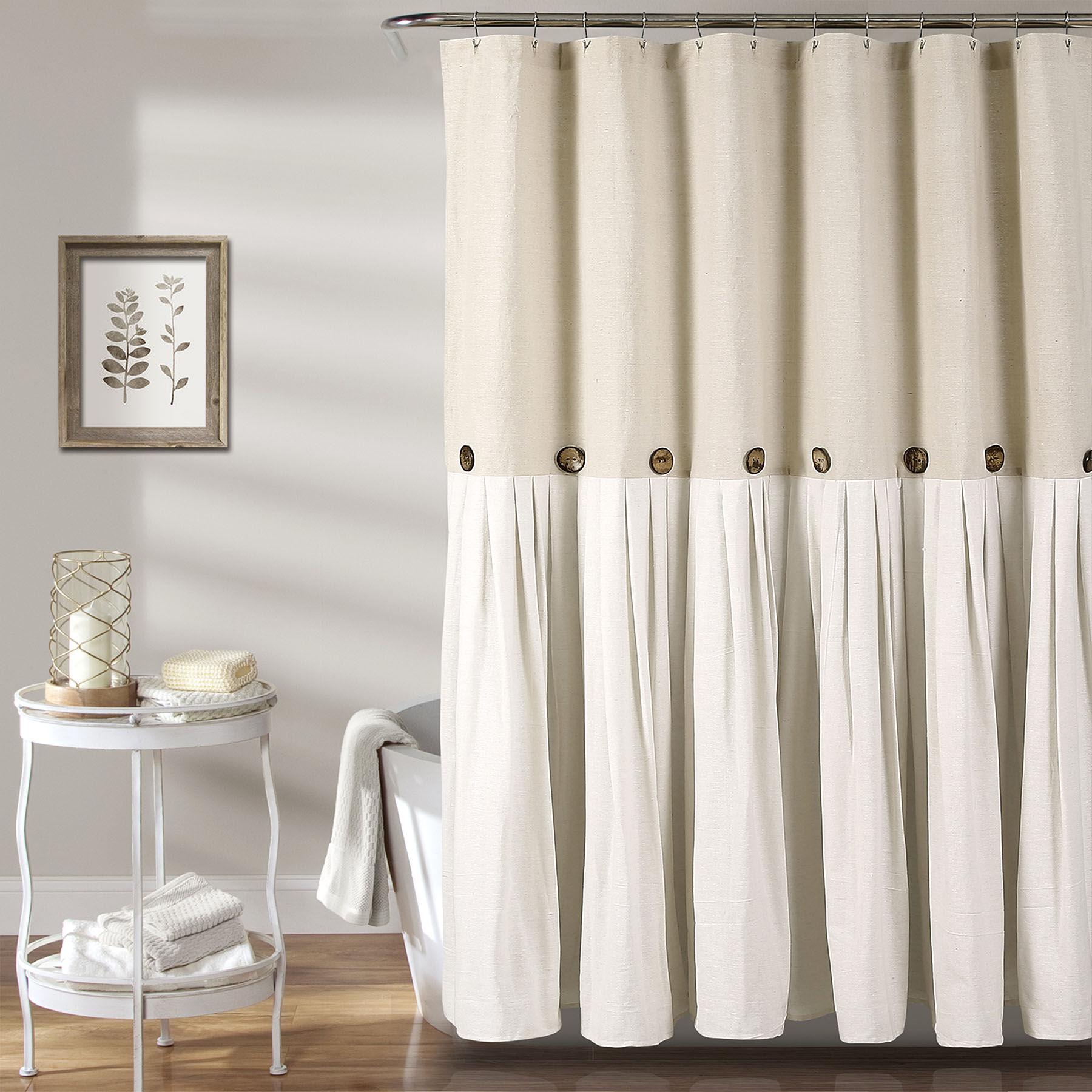 Aqua Blue Circles Modern Brown Neutral Fabric Shower Curtain