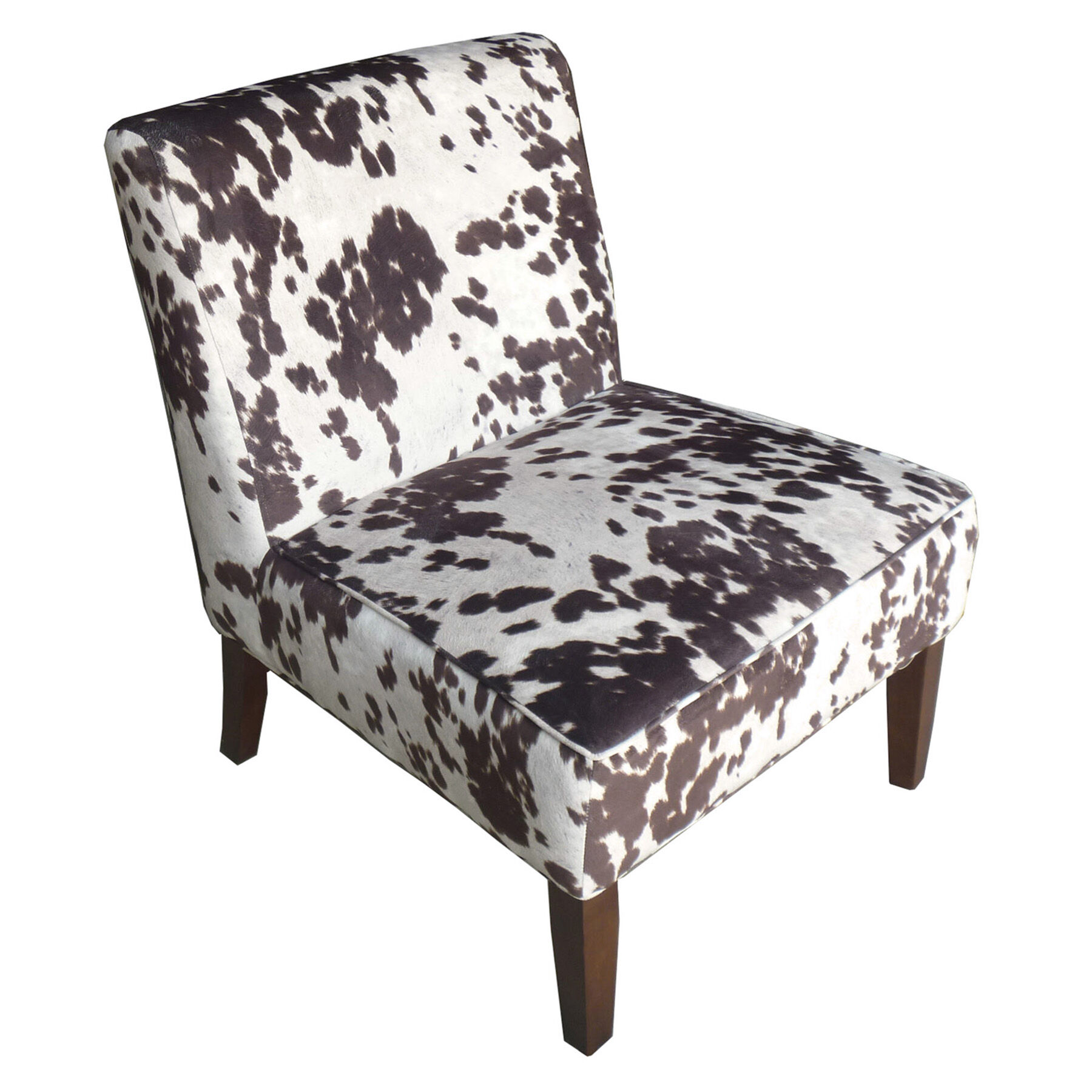 Cowhide Print Fabric Slipper Chair White Brown At Home