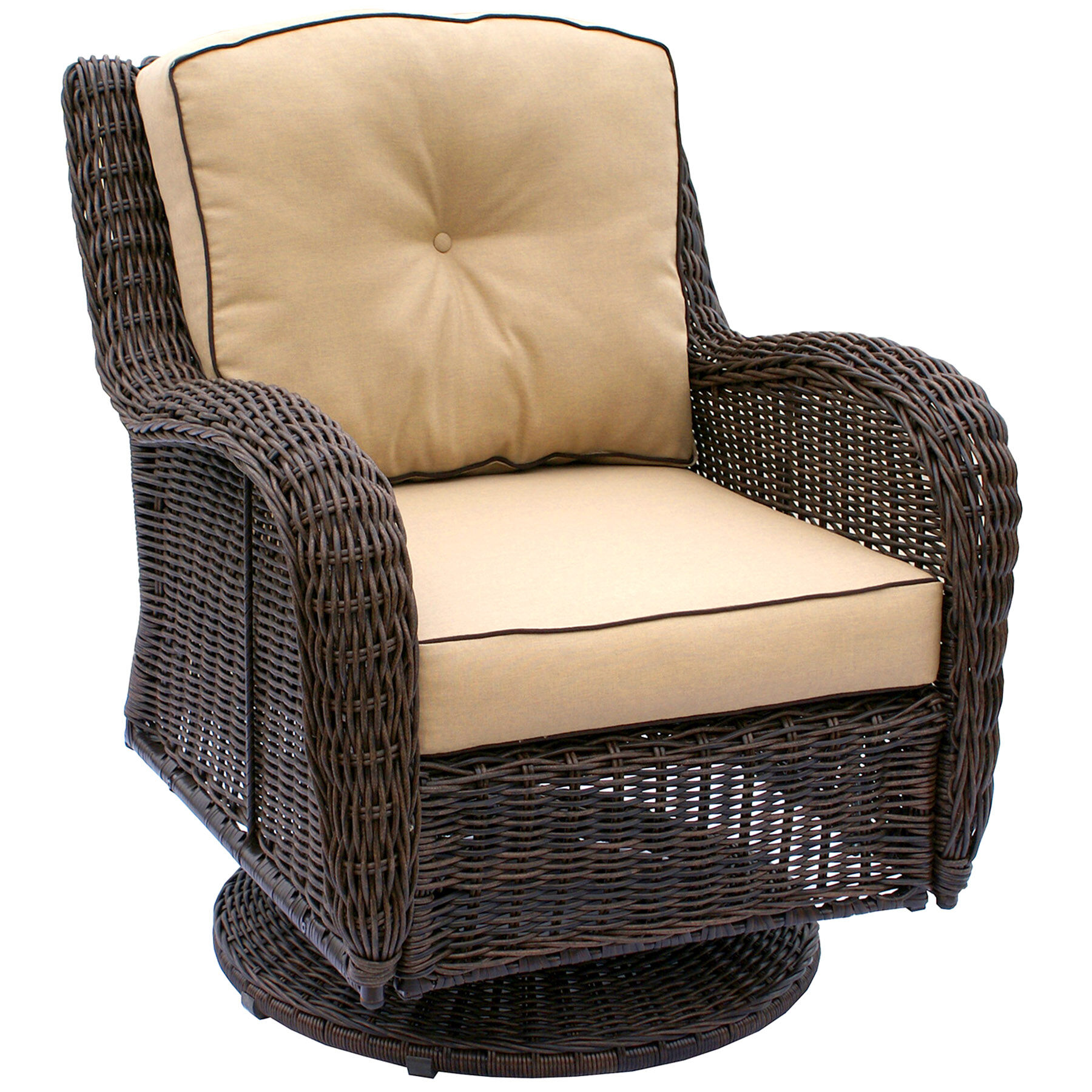 Patio Furniture   At Home Grand Isle Brown Wicker Swivel Chair