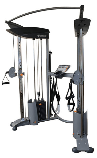 The Torque F2 Functional Trainer features a compact footprint that doesn't dominate the room, giving you more choices for room placement  Convenient onboard storage for grip handles, leg boot, squat harness, straight bar, universal adapter, workout manual, and water bottle give you all that's needed to perform countless strength training exercises.