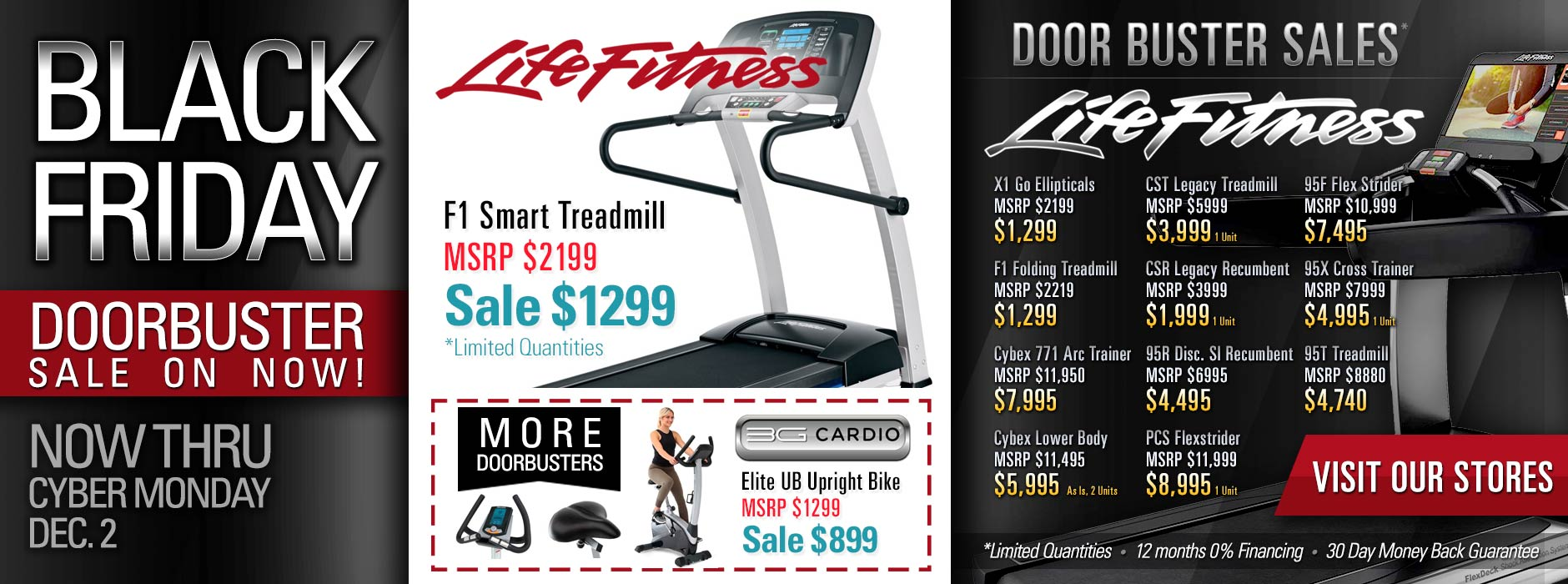 Black Friday Fitness Equipment Sale including - LIfe Fitness Equipment - 3G Cardio Fitness Equipment