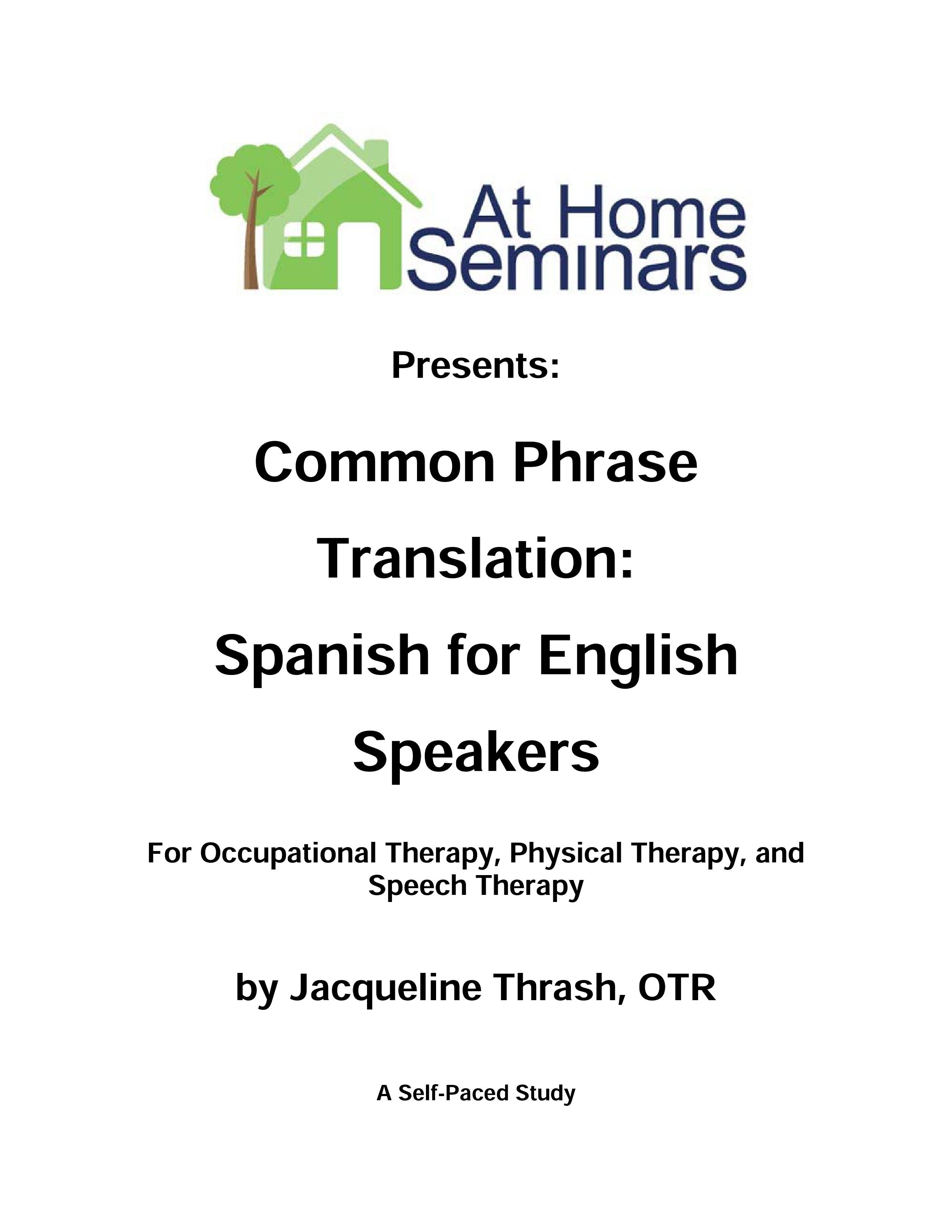 Common Phrase Translation Spanish For English Speakers Physical Therapy Occupational Therapy