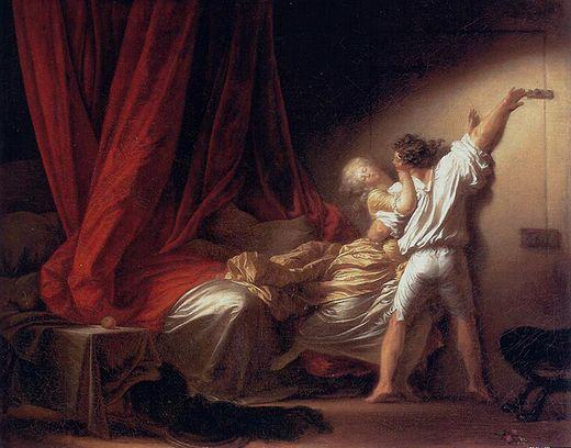 Fesses masculines satinées dans le verrou de Fragonard