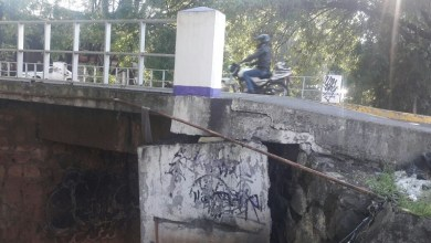 El soporte de concreto que el puente tiene en su parte poniente está muy inclinado mientras que el que está en el otro extremo se encuentra un poco más alineado