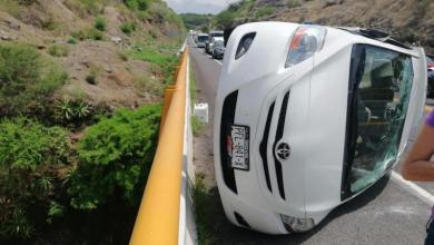 accidente, volcadura, Autopista Siglo XXI