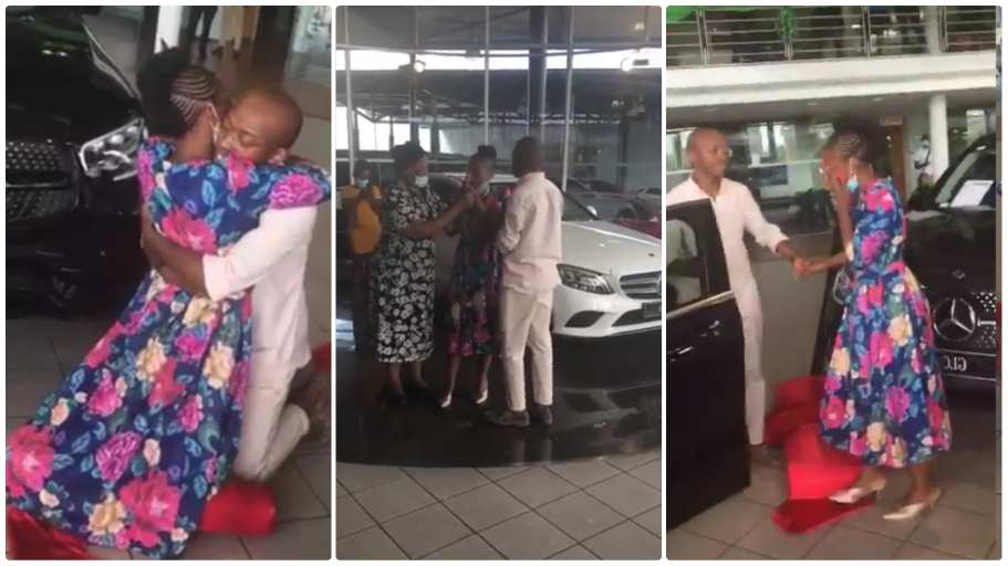 Young man surprises mother with Mercedes-Benz as birthday gift